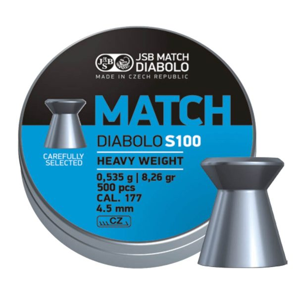 JSB Match DiaboloS100 Heavy Weight 8.26 Grain| 0.535 Grams | 500 PCS